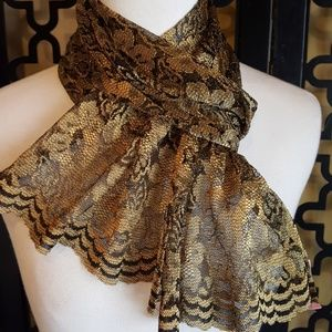 GORGEOUS IN GOLD LACE SCARF/WRAP